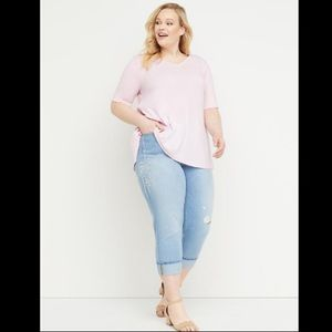 Lane Bryant girlfriend crop mid rise jeans stretch